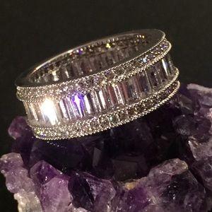 Diamond Color Silvertone Band Ring